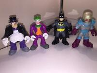 4 x IMAGINEXT SUPER HERO FIGURES ( PENGUIN BATMAN JOKER MR FREEZE )