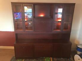 Mahogany look display cabinets