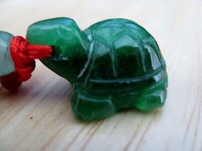 Feng Shui Turtle Tortoise  Green Emerald Jade Amulet Charm Pendant Bead Small