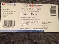 Bruno Mars 1 standing ticket Nottingham 27/4/2017