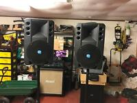 P A Speakers & powered mixer desk