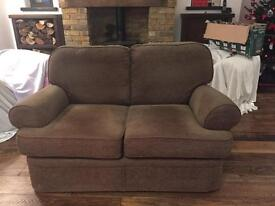 Brown two 2 seater sofa settee