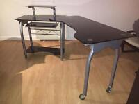Black Glass Swivel/Rotator Extendable Work/Study/Office Computer Desk