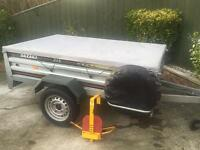 HUGE Daxara 218 tipping trailer + spare wheel & cover (both ends drop)