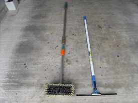 Telescopic hose brush & squeegee