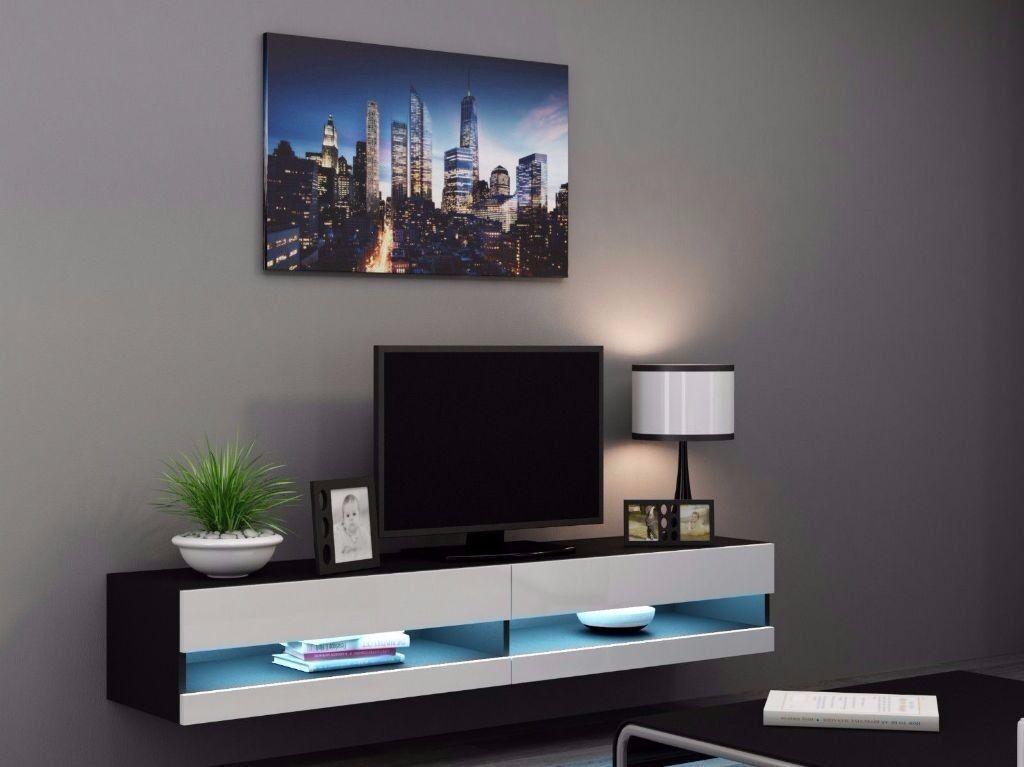 Vigo White And Black Gloss Floating Tv Unit With Led Lights New 180cm
