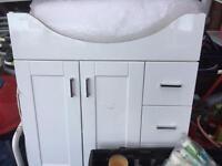 Bathroom ceramic Basins with cabinet storage