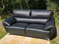 A Brand New Enzo Large 2 Seater Black Leather Designer Sofa