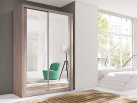 Brand New 2 or 3 Door Berlin Sliding Wardrobe with Full Mirror Doors, Shelves and Hanging Rails
