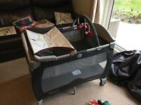 Graco travel cot with bassinette and changing table