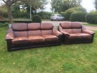 Brown Leather 2 and 3 seater settee's