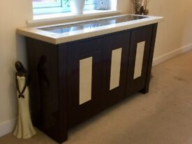 Glossy brown/cream marble sideboard