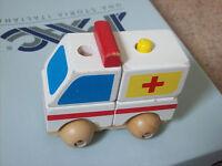 wooden toy ambulance