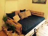 Free!!! Pallet sofa / bed + mattress. Needs to go ASAP.