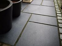 BLACK LIMESTONE PAVING FLAGS IN SUPERB CONDITION(LOOKS LIKE SLATE)CHEAP