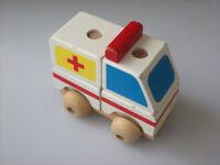 wooden toy ambulance building blocks