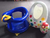 Safety baby bath seat, toy holder & tap cover