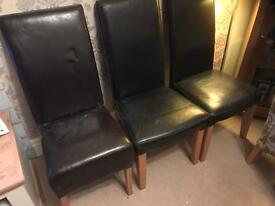 Dining Chairs Brown Faux three of