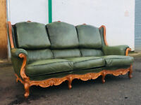 3 seater chesterfield style Indonesian antique green solid wood leather sofa DELIVERY AVAILABLE