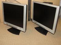 Job lot 2 flat screen monitors - size 17 inch each