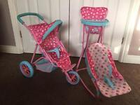 Children's Cup cake dolls pushchair, high chair set