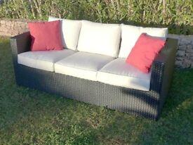 Antigua Three Seat Rattan Sofa