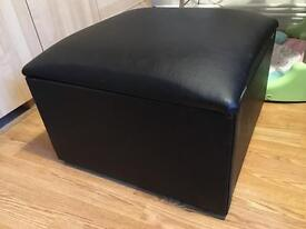 Leather foot stool with storage space