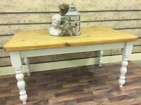 STUNNING CHUNKY SOLID PINE FARMHOUSE TABLE IN FARROW AND BALL CAN DELIVER
