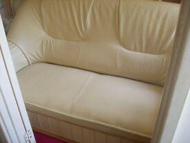 cream faux leather suite