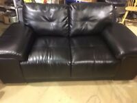 Black Leather Sofa, Great condition, rarely used
