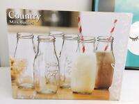6 Circleware Retro Glass Dairy Milk Bottles 10.5oz