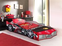 F1, Racing, Car Bed, blue,red option, adult single bed, adult 3ft, padded sprung, Mattress, bargain