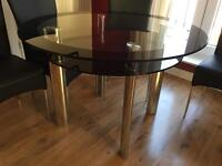 Glass Dining table with 5 chairs Excellent Condition