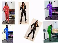 PVC CATSUIT Jumpsuit Black White Red Blue Yellow 10-12-14-16 UK New With Tags