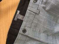 h&m mens smart grey checkered trousers