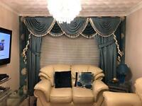 Duck egg and teal curtains x2 sets