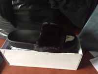 Ladies black fur sliders