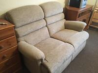 Rise and recline electric chair and 2 seater sofa