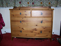 Pine chest of drawers and matching bedside cupboard