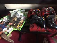 Xbox 360 500gb with Four controllers & 12 games