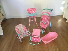 Doll buggy, high chair, bath and bouncer seat