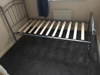 Single metal bedframe and mattress