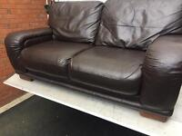 Harvey's 2 & 2 large luxury brown leather sofas