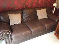 FREE - 3 piece sofa set - brown leatger