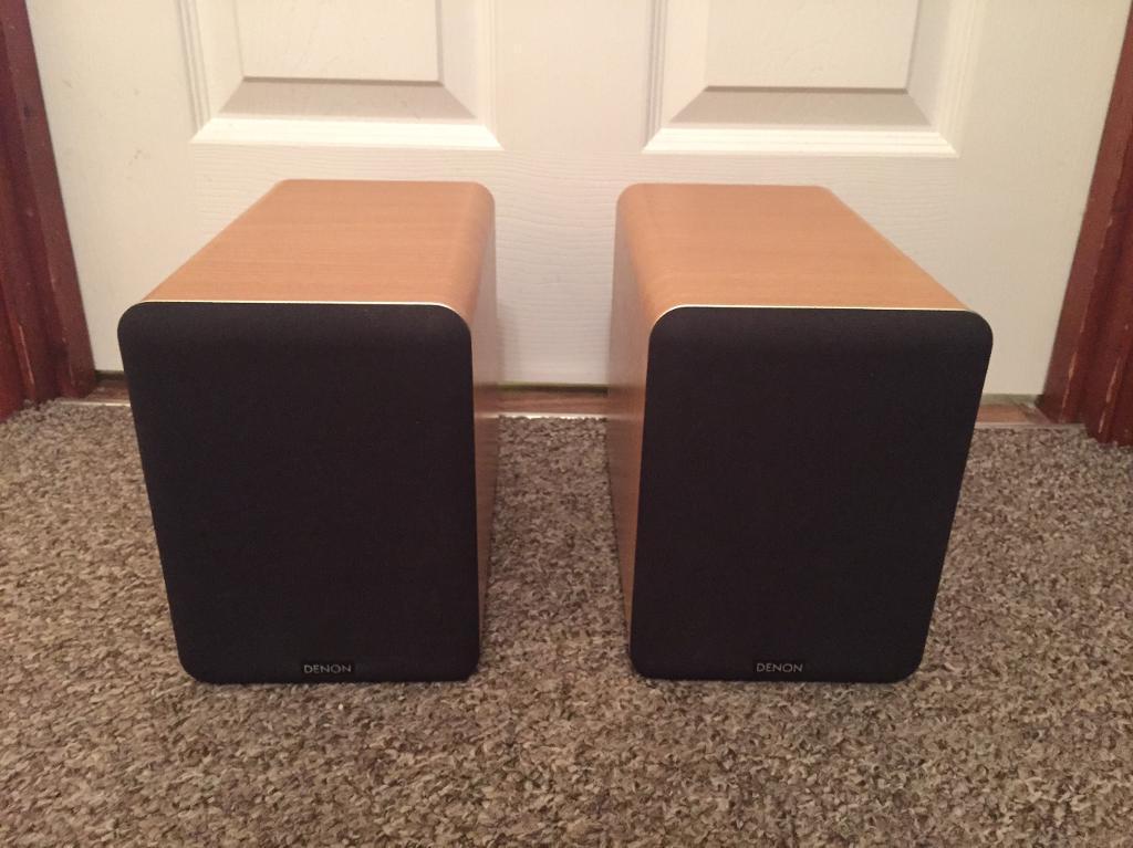 denon speakers. pair of denon sc-m53 bookshelf speakers \u0026 jvc 16awg speaker cable