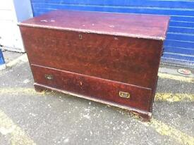 Stunning Antique Scumbled Pine Mule/ Blanket Chest