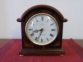 Clock for sale - mahogany coloured finish - traditional mantlepiece style