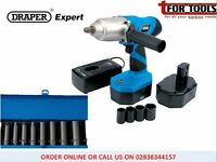 "Draper Expert 24V 1/2"" Cordless Impact Wrench 2x Bat & 14 Sockets"
