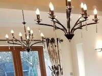 2 x Dar lighting 9 arm black chrome chandelier with glass crystals