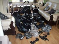 ICANDY PEACH BLOSSOM DOUBLE IN BLACK JACK,2CARRYCOTS,2 CAR SEATS,2 SEAT UNITS,6 RAINCOVERS + MORE